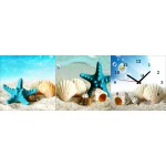 New! 3 Panels Gorgeous Wooden Clock Set- Beach