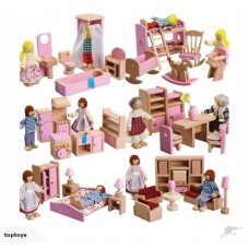 NEW! Wooden Dolls Furnitures 6 x Rooms