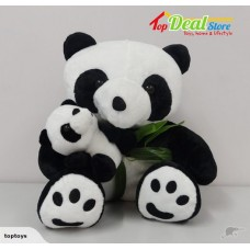 NEW! Soft Toy Sitting Panda Bear with Baby
