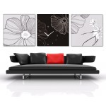 New! 3 Pcs Gorgeous Wooden Clock Set-black/white
