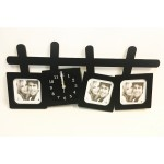 SALE! NEW! Black Wall Clock with 3 Photo Frames