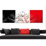 New! 3 Panels Gorgeous Wooden Clock Set -Tree
