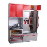 NEW! B/O Kids Modern Kitchen Play Set - RED