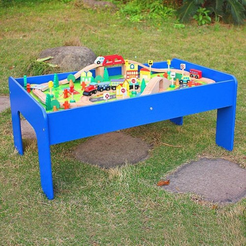Sale! NEW! 90 Pieces Wooden Train Set with Train Table