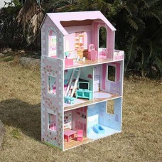 SALE! Large 3 Storey Wooden Doll House & Furnitures Set 1.17M