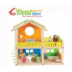 Sale! New! Wooden Dolls House + Furniture +3 Dolls