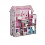 SALE! New! 3 Storey Wooden Doll House with Furnitures Set