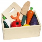 New! Wooden Vegetable Cutting Play Set with a box