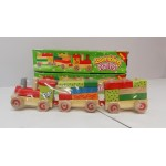 BRAND NEW Wooden Block Train & Carriages 35cm L